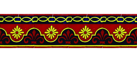 New Items / Border Tile 4x4 inch (90 pieces) - Style CN-29 / These beatiful handpainted Mexican Talavera tiles will give a colorful decorative touch to your bathrooms, vanities, window surrounds, fireplaces and more.