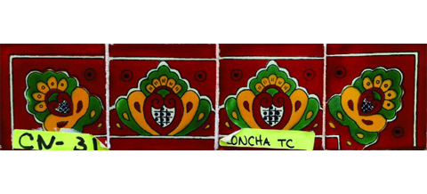 New Items / Border Tile 4x4 inch (90 pieces) - Style CN-31 / These beatiful handpainted Mexican Talavera tiles will give a colorful decorative touch to your bathrooms, vanities, window surrounds, fireplaces and more.