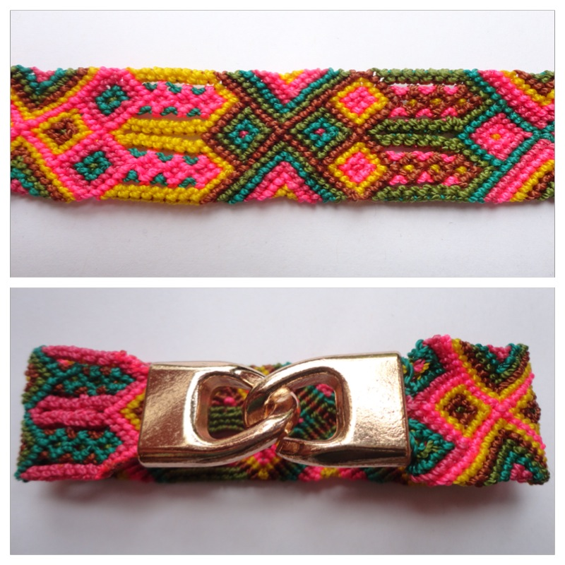 JEWELRY AND ACCESORIES / Large mexican friendship bracelet with golden hooks clasp - Style LH0001 / Unique hand woven bracelets that reflect the colorful mexican culture while keeping it chic. From the beach, to the bar, from the mountain, to the club, these bohemian art pieces are right for every occasion.