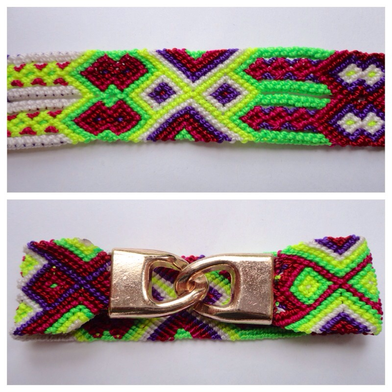 JEWELRY AND ACCESORIES / Large mexican friendship bracelet with golden hooks clasp - Style LH0003