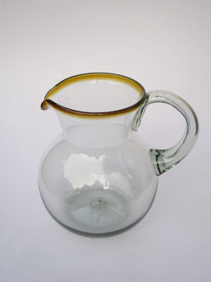 Sale Items / 'Amber Rim' blown glass pitcher / This classic pitcher is perfect for pouring out all kinds of refreshing drinks.