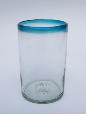 'Aqua Blue Rim' drinking glasses (set of 6)