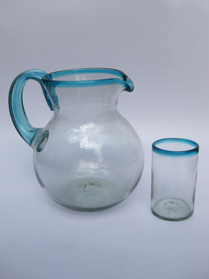 MEXICAN GLASSWARE / 'Aqua Blue Rim' pitcher and 6 drinking glasses set