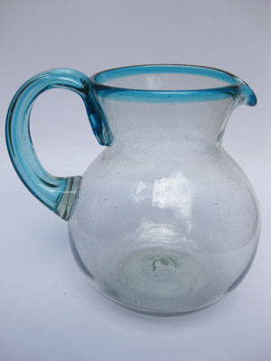 'Aqua Blue Rim' blown glass pitcher