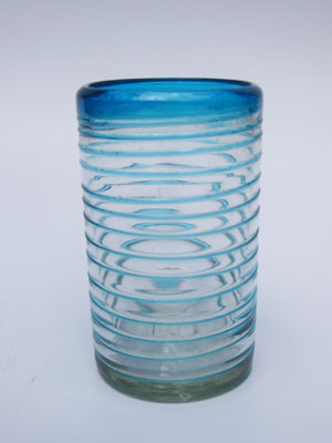 New Items / 'Aqua Blue Spiral' drinking glasses (set of 6) / These glasses offer the perfect combination of style and beauty, with aqua blue spirals all around.