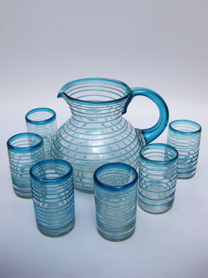 MEXICAN GLASSWARE / 'Aqua Blue Spiral' pitcher and 6 drinking glasses set