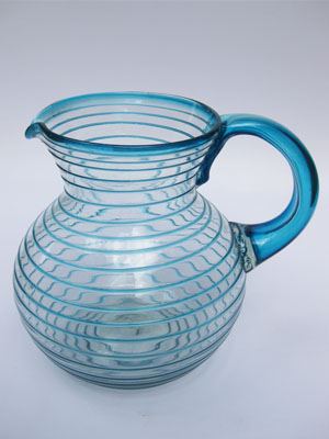 MEXICAN GLASSWARE / 'Aqua Blue Spiral' blown glass pitcher