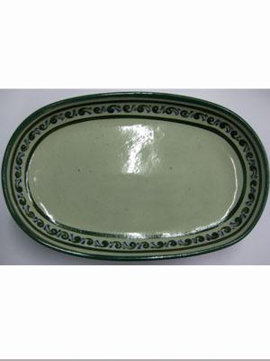 Dinnerware - Paisley / 'Green Rim Paisley' Serving platter / With a handcrafted design, this serving platter is perfect for fruit display on a table or serving the main dish. It is adorned with a green and blue paisley pattern, bordered with a green rim.