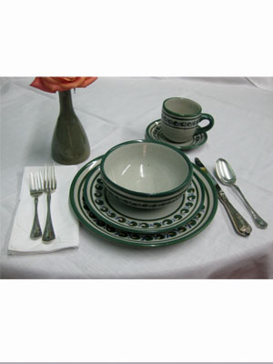 Dinnerware - Paisley / 'Green Rim Paisley' 5 piece dinnerware set (1 person) / This ceramic dinnerware set has a handpainted decoration, it comes adorned with a green and blue paisley pattern, bordered with a green rim. It includes one dinner plate, one salad plate, one soup bowl, a coffee cup and saucer.