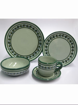 CLICK TO VIEW CLICK TO VIEW ...  sc 1 st  MexHandcraft & Green Rim Paisley 5 piece dinnerware set 1 person pcs
