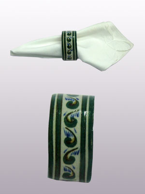 MEXICAN DINNERWARE - TROPICAL / 'Green Rim Paisley' Napkin ring