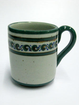 MEXICAN STONEWARE / 'Green Rim Paisley' Coffee mug / This ceramic mug is excellent for coffee lovers who like to enjoy a little more than the usual.