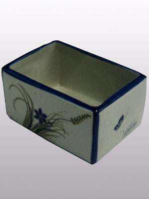 MEXICAN STONEWARE / 'Blue Rim Butterfly' Sugar packet holder