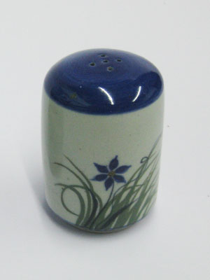 MEXICAN STONEWARE / 'Blue Rim Butterfly' Pepper shaker