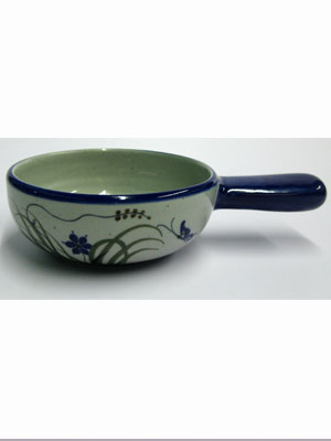 MEXICAN STONEWARE / 'Blue Rim Butterfly' Onion soup bowl / The quintessential bowl for onion soups, this dish is decorated with a butterfly, flowers and grass bordered with a cobalt blue rim.