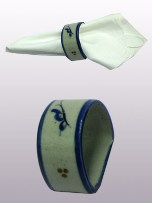 MEXICAN STONEWARE / 'Blue Rim Butterfly' Napkin ring / This carefully crafted napkin ring will make a great accesory for your 'Blue Rim Butterfly' collection.