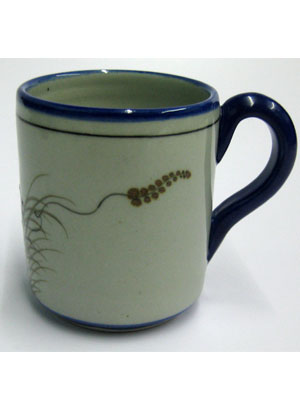 MEXICAN STONEWARE / 'Blue Rim Butterfly' Coffee mug