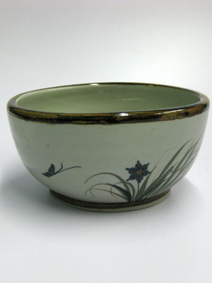 MEXICAN DINNERWARE - TROPICAL / 'Brown Rim Butterfly' Salad bowl