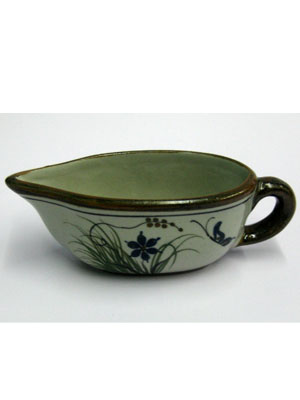 MEXICAN DINNERWARE - TROPICAL / 'Brown Rim Butterfly' Gravy boat
