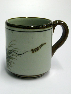MEXICAN STONEWARE / 'Brown Rim Butterfly' Coffee mug