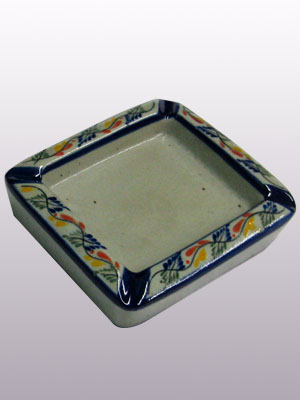 MEXICAN STONEWARE / 'Tropical' Square ashtray / This handcrafted square ashtray will make a great accesory for your 'Tropical' collection.