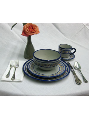 MEXICAN STONEWARE / 'Tropical' 5 piece dinnerware set (1 person) / This ceramic dinnerware set has a cheerful decoration, it comes adorned with a cobalt blue rim and a multicolor motif resembling tropical flowers. It includes one dinner plate, one salad plate, one soup bowl, a coffee cup and saucer.