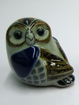 MEXICAN RAKU CERAMICS / Ceramic handpainted Owl figurine
