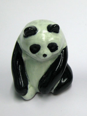MEXICAN RAKU CERAMICS / Ceramic handpainted Panda figurine / This handpainted panda will make a greate decorative item for your home.