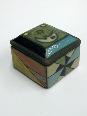 Raku Ceramic Boxes / Small square jewelry box / A moon and stars enlight the lid of this handpainted square jewel box. Made of Raku ceramic, it features multicolor geometric figures on the sides.