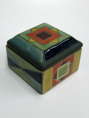 Raku Ceramic Boxes / Medium square jewelry box / Geometric multicolor figures add a handpainted touch to this gorgeous square jewel box. A decorative item for storing rings and necklaces.