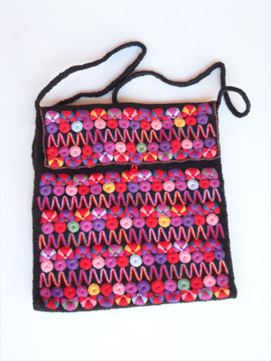 MEXICAN TEXTILES / Chamula handwoven large size handbag / This handbag was handwoven from wool and cotton by a weaver in the town of San Juan Chamula, Chiapas. Various sizes available.