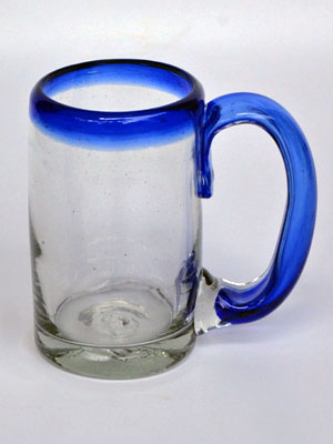 'Cobalt Blue Rim' beer mugs (set of 6)