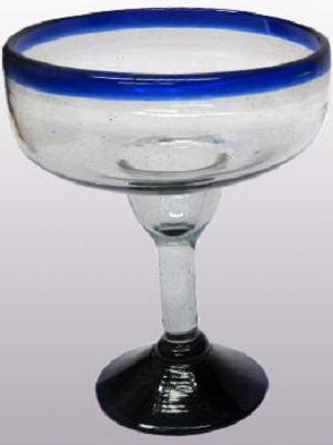 Sale Items / 'Cobalt Blue Rim' large margarita glasses (set of 6) / For the margarita lover, these enjoyable large sized margarita glasses feature a cheerful cobalt blue rim.