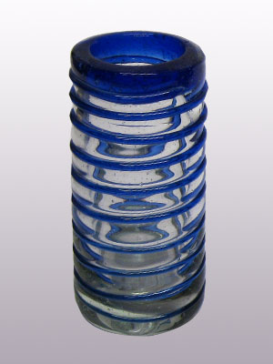 'Cobalt Blue Spiral' Tequila shot glasses (set of 6) / handcraft, handcrafted, mexican, blown glass, bubble glass, pitcher, glass blowing, pitcher vase, vase, glass, glasses, glass shot, tequila, margarita glass, martini glass, wine glass, glassware, cobalt blue glass, barware, bar glasses, drink, mexican barware, water glass, home decor