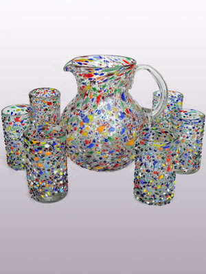 'Confetti rocks' pitcher and 6 drinking glasses set