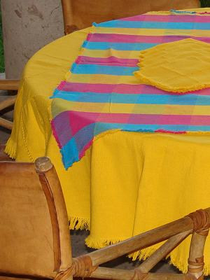 Sale Items / Cotton Tablecloth with napkins Round and Square Combination 2 / This combination of a solid color round tablecloth with a colorful plaid square one will bring elegance and a touch of joy to your table.