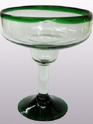 Sale Items / 'Emerald Green Rim' large margarita glasses (set of 6) / For the margarita lover, these enjoyable large sized margarita glasses feature a cheerful emerald green rim.