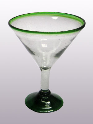 Sale Items / 'Emerald Green Rim' martini glasses (set of 6) / This wonderful set of martini glasses will bring a classic, mexican touch to your parties.