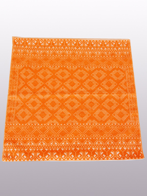 New Items / Handwoven pillow cover - Diamonds in Bright Orange / This beautiful pillow cover features the Grand Design from the ceremonial huipil of Sakamch'en. Diamonds represent the Universe and the path of the sun in it's daily movement: the east and west are represented by the small diamonds at the top and bottom. The large diamond in the center is the sun at noon. It was hand woven using a backstrap loom, a system created during the Classic Maya period.