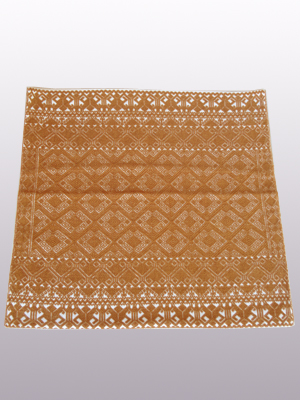 New Items / Handwoven pillow cover - Diamonds in Brown / This beautiful pillow cover features the Grand Design from the ceremonial huipil of Sakamch'en. Diamonds represent the Universe and the path of the sun in it's daily movement: the east and west are represented by the small diamonds at the top and bottom. The large diamond in the center is the sun at noon. It was hand woven using a backstrap loom, a system created during the Classic Maya period.