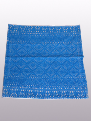New Items / Handwoven pillow cover - Diamonds in Dark Turquoise / This beautiful pillow cover features the Grand Design from the ceremonial huipil of Sakamch'en. Diamonds represent the Universe and the path of the sun in it's daily movement: the east and west are represented by the small diamonds at the top and bottom. The large diamond in the center is the sun at noon. It was hand woven using a backstrap loom, a system created during the Classic Maya period.