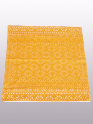 New Items / Handwoven pillow cover - Diamonds in Dark Yellow / This beautiful pillow cover features the Grand Design from the ceremonial huipil of Sakamch'en. Diamonds represent the Universe and the path of the sun in it's daily movement: the east and west are represented by the small diamonds at the top and bottom. The large diamond in the center is the sun at noon. It was hand woven using a backstrap loom, a system created during the Classic Maya period.