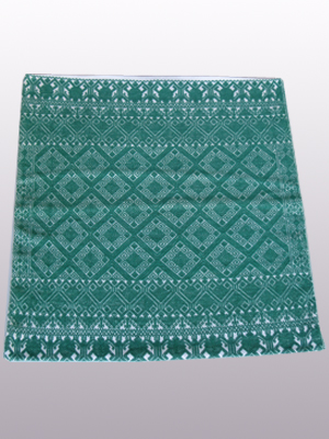 New Items / Handwoven pillow cover - Diamonds in Jade Green / This beautiful pillow cover features the Grand Design from the ceremonial huipil of Sakamch'en. Diamonds represent the Universe and the path of the sun in it's daily movement: the east and west are represented by the small diamonds at the top and bottom. The large diamond in the center is the sun at noon. It was hand woven using a backstrap loom, a system created during the Classic Maya period.