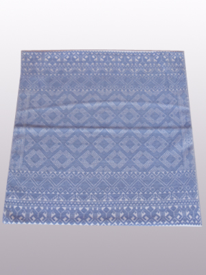 New Items / Handwoven pillow cover - Diamonds in Light Blue / This beautiful pillow cover features the Grand Design from the ceremonial huipil of Sakamch'en. Diamonds represent the Universe and the path of the sun in it's daily movement: the east and west are represented by the small diamonds at the top and bottom. The large diamond in the center is the sun at noon. It was hand woven using a backstrap loom, a system created during the Classic Maya period.