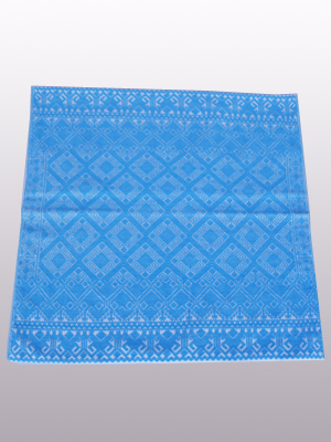 New Items / Handwoven pillow cover - Diamonds in Light Turquoise / This beautiful pillow cover features the Grand Design from the ceremonial huipil of Sakamch'en. Diamonds represent the Universe and the path of the sun in it's daily movement: the east and west are represented by the small diamonds at the top and bottom. The large diamond in the center is the sun at noon. It was hand woven using a backstrap loom, a system created during the Classic Maya period.