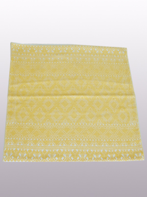 New Items / Handwoven pillow cover - Diamonds in Light Yellow / This beautiful pillow cover features the Grand Design from the ceremonial huipil of Sakamch'en. Diamonds represent the Universe and the path of the sun in it's daily movement: the east and west are represented by the small diamonds at the top and bottom. The large diamond in the center is the sun at noon. It was hand woven using a backstrap loom, a system created during the Classic Maya period.