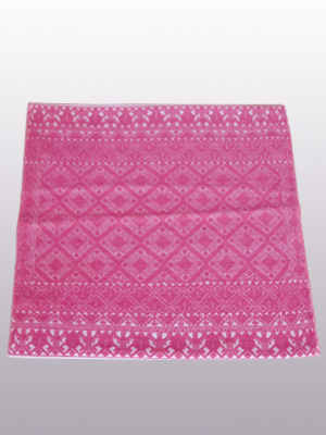 New Items / Handwoven pillow cover - Diamonds in Mexican Pink / This beautiful pillow cover features the Grand Design from the ceremonial huipil of Sakamch'en. Diamonds represent the Universe and the path of the sun in it's daily movement: the east and west are represented by the small diamonds at the top and bottom. The large diamond in the center is the sun at noon. It was hand woven using a backstrap loom, a system created during the Classic Maya period.