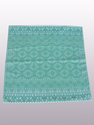 New Items / Handwoven pillow cover - Diamonds in Mint Green / This beautiful pillow cover features the Grand Design from the ceremonial huipil of Sakamch'en. Diamonds represent the Universe and the path of the sun in it's daily movement: the east and west are represented by the small diamonds at the top and bottom. The large diamond in the center is the sun at noon. It was hand woven using a backstrap loom, a system created during the Classic Maya period.