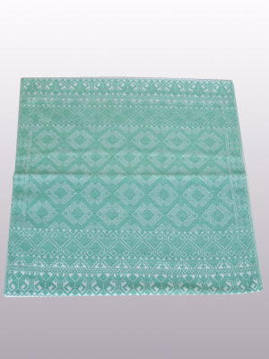 MEXICAN TEXTILES / Handwoven pillow cover - Diamonds in Pastel Green