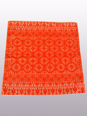 New Items / Handwoven pillow cover - Diamonds in Tangerine Orange / This beautiful pillow cover features the Grand Design from the ceremonial huipil of Sakamch'en. Diamonds represent the Universe and the path of the sun in it's daily movement: the east and west are represented by the small diamonds at the top and bottom. The large diamond in the center is the sun at noon. It was hand woven using a backstrap loom, a system created during the Classic Maya period.